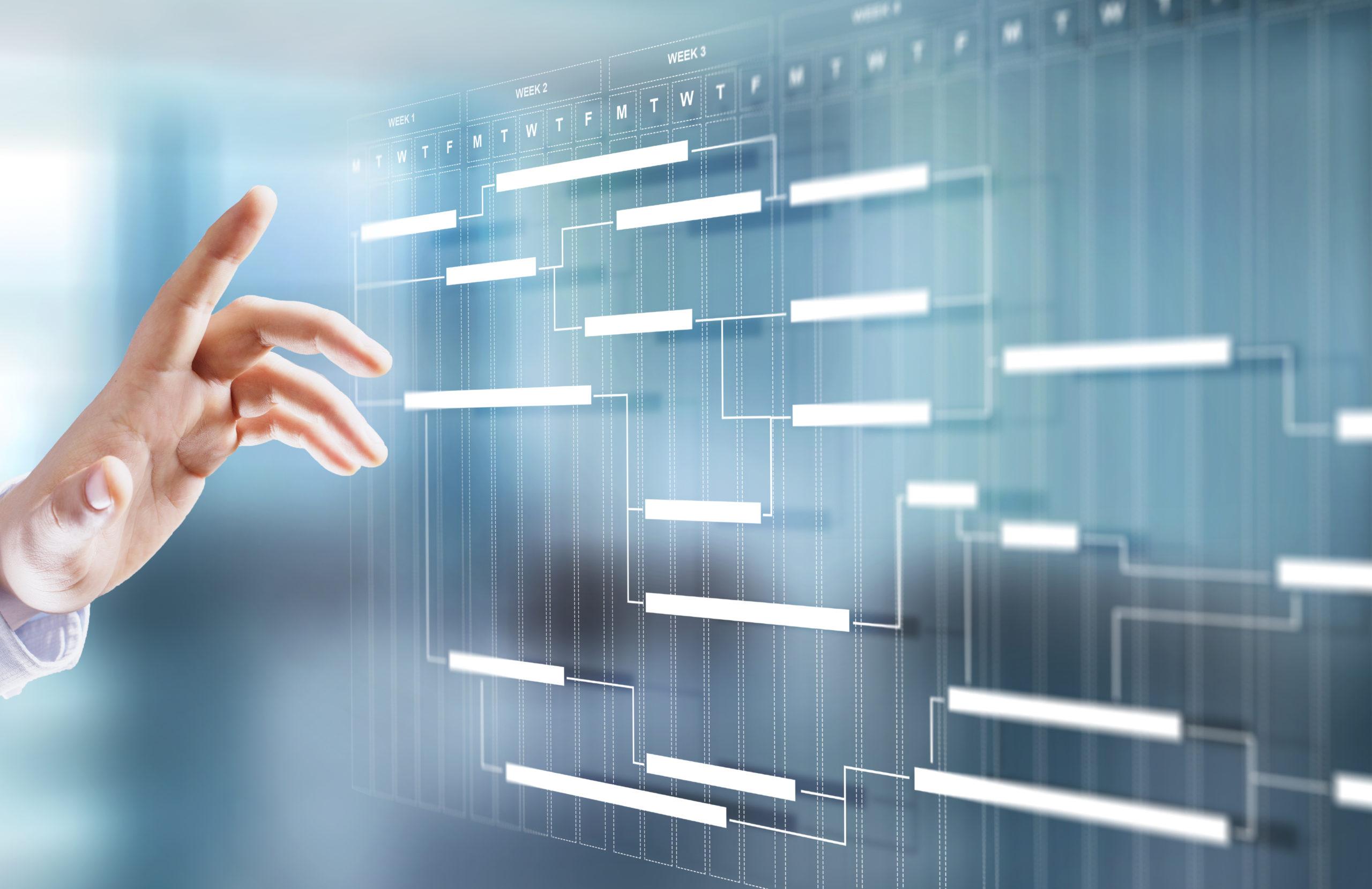 Project management schedule plan diagram business process optimisation concept.