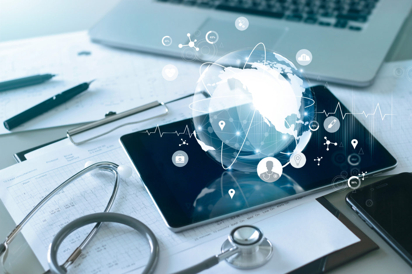 Medical global networking and healthcare global network connection on tablet, Medical technology.